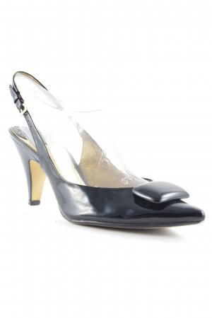 Clarks Spitz-Pumps schwarz-goldfarben Glanz-Optik