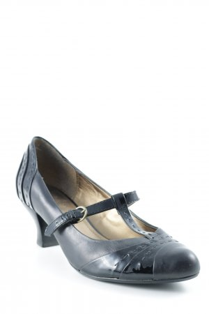 Clarks Zapatos de tacón con barra en T negro estilo clásico
