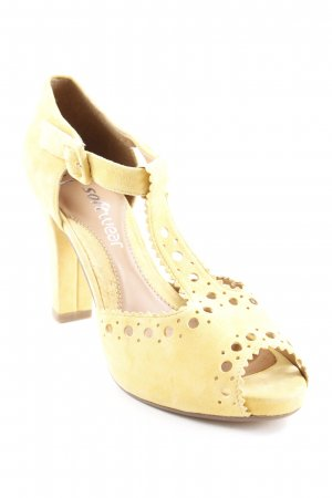 Clarks T-Strap Sandals dark yellow-beige elegant