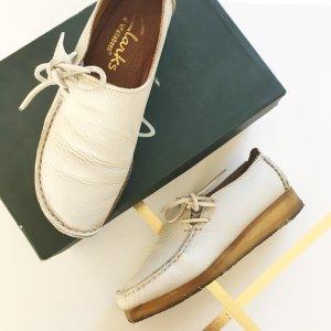 Clarks Wallabees Lugger Leder Schuhe 39,5 Creme weiß Halbschuhe