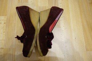 Clarks Wedges Heels Pumps Gr. 39/40 bordeaux Echtleder Retro Hippie Boho