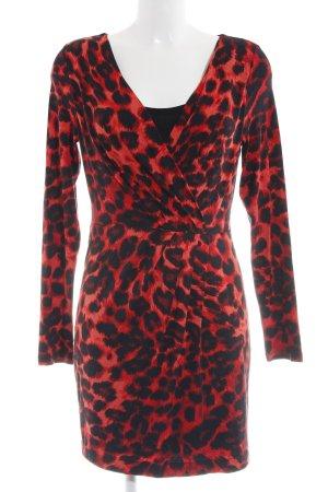 Class Jersey Dress red-black animal pattern elegant