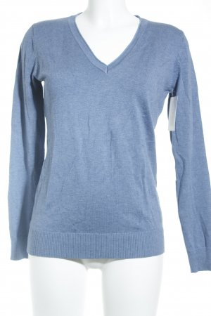 Classics meets Trends V-Ausschnitt-Pullover kornblumenblau Casual-Look