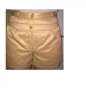 High-Waist-Shorts sand brown-gold-colored cotton