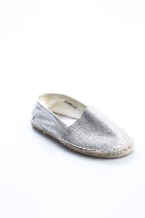 Claudia Ghazzani Espadrilles-Sandalen silberfarben-beige Animalmuster Beach-Look