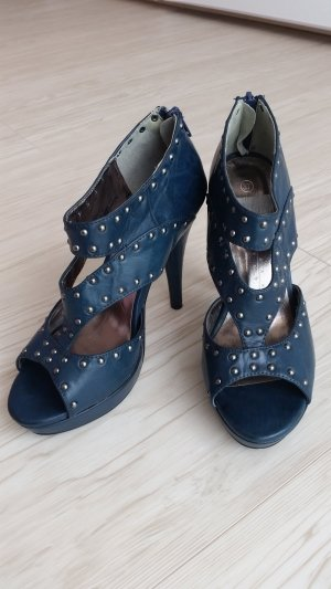 Sandales à talons hauts et plateforme bleu foncé faux cuir