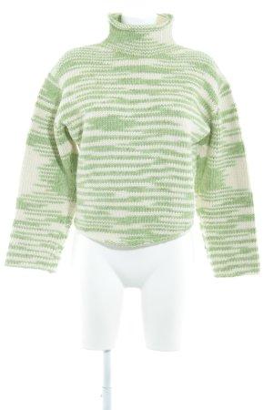 Claudia Skoda Pull-over à col roulé vert clair-blanc motif rayé