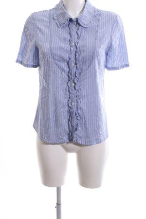 Claudie Pierlot Kurzarm-Bluse blau Streifenmuster Business-Look