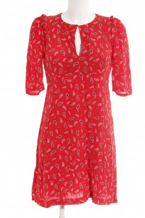Claudie Pierlot Kurzarmkleid rot abstraktes Muster Casual-Look