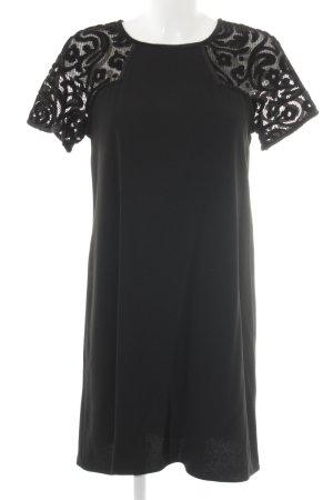 Claudie Pierlot Kurzarmkleid schwarz florales Muster Elegant