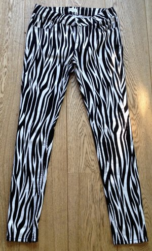 Pantalón de tubo blanco-negro Algodón