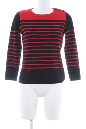 Claudie Pierlot Rundhalspullover rot-schwarz Streifenmuster Casual-Look
