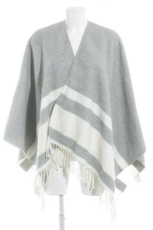 Claudie Pierlot Poncho in maglia grigio chiaro-bianco sporco motivo a righe