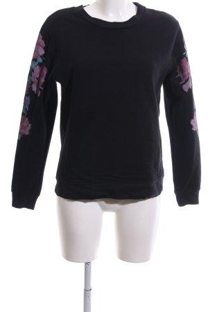 Claudie Pierlot Sweatshirt schwarz-pink Blumenmuster Casual-Look