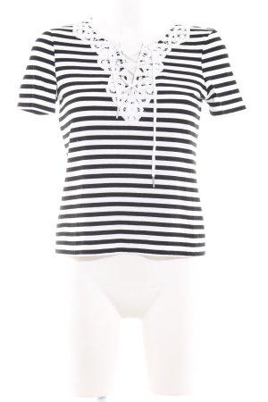 Claudie Pierlot T-Shirt schwarz-weiß Streifenmuster Casual-Look