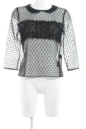 Claudie Pierlot Transparenz-Bluse schwarz abstraktes Muster Elegant
