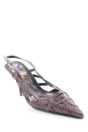 Claudina Zapatos de punta marrón grisáceo estampado con diseño abstracto