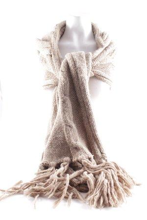 Claudio Cutuli Hooded Scarf beige weave pattern fluffy