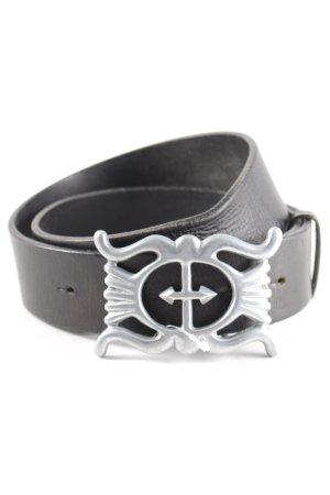 Claudio Orciani Cintura di pelle nero-argento stile casual