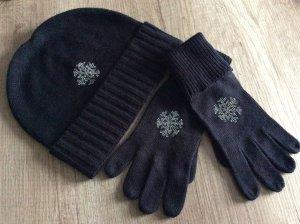 Chapeau en tricot noir-gris clair