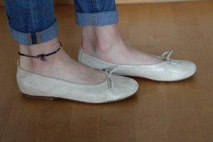 Ballerina argento-crema Pelle