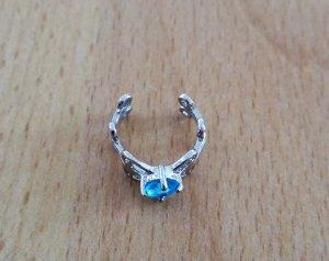 Pendientes de clip azul claro-color plata