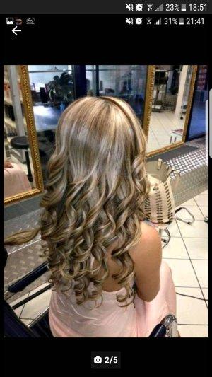 Clip In Extensions Echthaar Haarverlängerung gesträhnt Blond Braun Mix