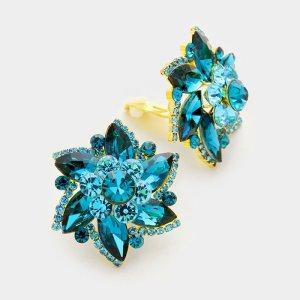 Clipohrringe Ohrclips türkis blau gold Swarovski-Elemente