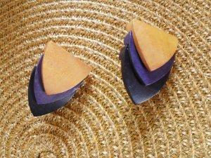 Pendientes de clip multicolor madera