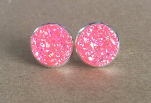 CLIPS Ohrclips Drusen 12mm rosa pink silber