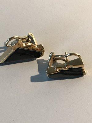 Pendientes de clip color oro-negro