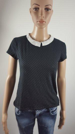 Clockhouse Damen Shirt gepunktet Bubi Kragen schwarz weiß Größe M