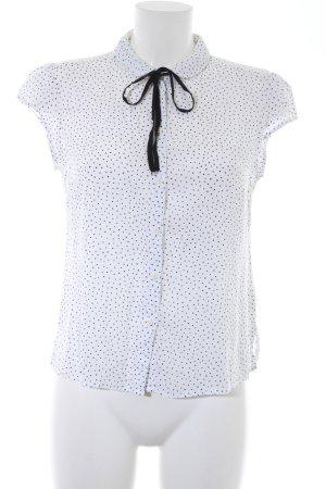 Clockhouse Shirt met korte mouwen wit-zwart gestippeld patroon zakelijke stijl