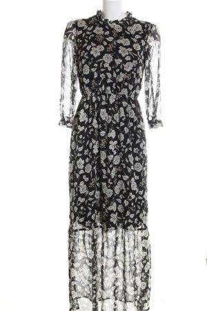 Clockhouse Maxikleid schwarz-wollweiß Blumenmuster Elegant