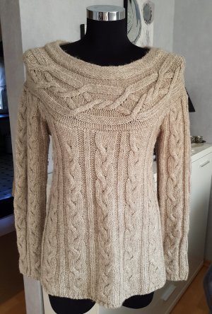 Clockhouse Pullover tolles Strickmuster Zopfmuster beige meliert L mit Wolle