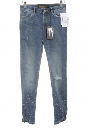 Clockhouse Skinny Jeans stahlblau Destroy-Optik