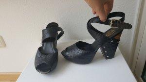 Clog Sandalen Leder schwarz