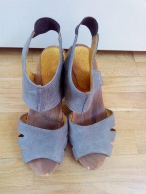 Clog Sandals grey leather