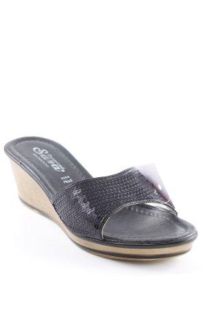 Clog Sandalen schwarz-beige Glitzer-Optik
