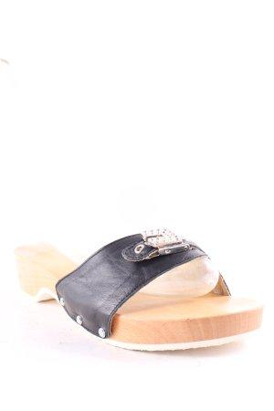 Sandalias tipo clog negro-marrón claro look casual