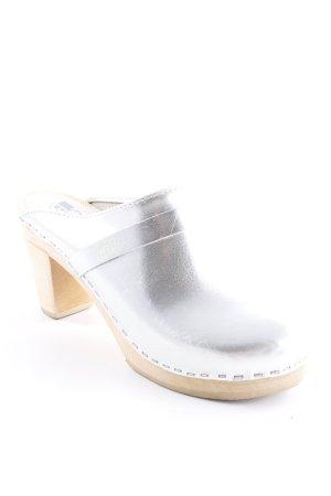 Clog Sandalen silberfarben-beige Boho-Look