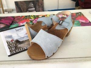 Sanita Clog Sandals azure-brown leather