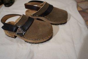 Sandalo con tacco marrone chiaro-marrone scuro Pelle