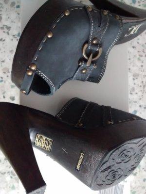 BC Collection Sandalo con tacco blu-blu scuro Pelle
