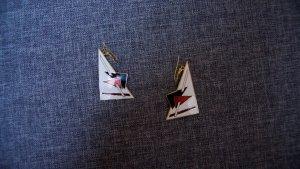 #Cloisonne-Ohrhänger, #NEU, #weiß-rot-schwarz