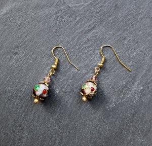 Cloisonné • Ohrringe Goldfarben Blumen Perlen Blüte Gold
