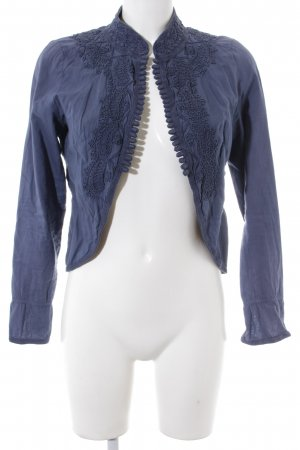 Closed Cardigan stahlblau abstraktes Muster Boho-Look