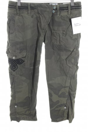 Closed Cargo Pants green grey-khaki camouflage pattern casual look