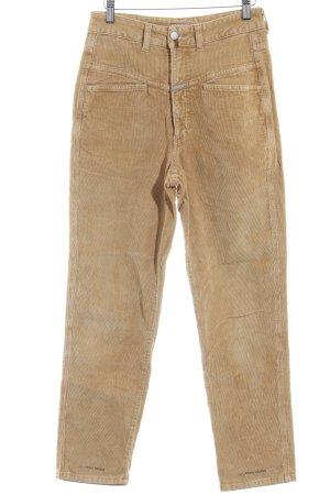 Closed Pantalone di velluto a coste color cammello caratteri stampati