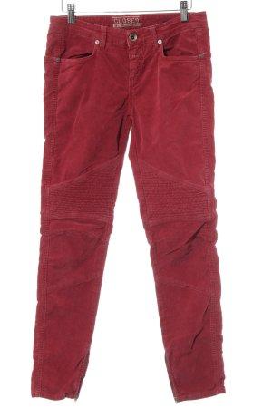 Closed Pantalon en velours côtelé rouge style décontracté